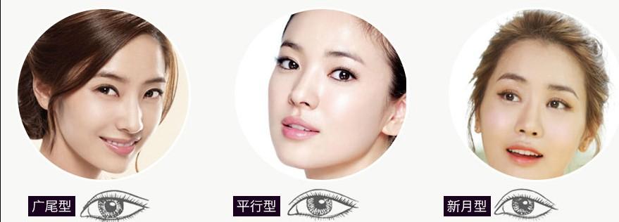 新月型:双眼皮线在内